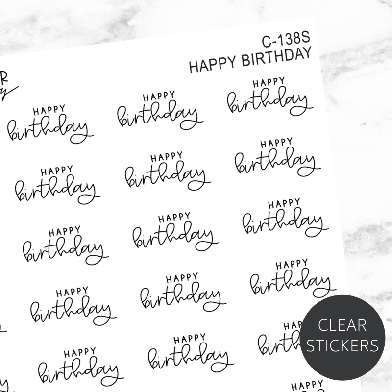 Happy Birthday TRANSPARENT Script Sticker Sheet