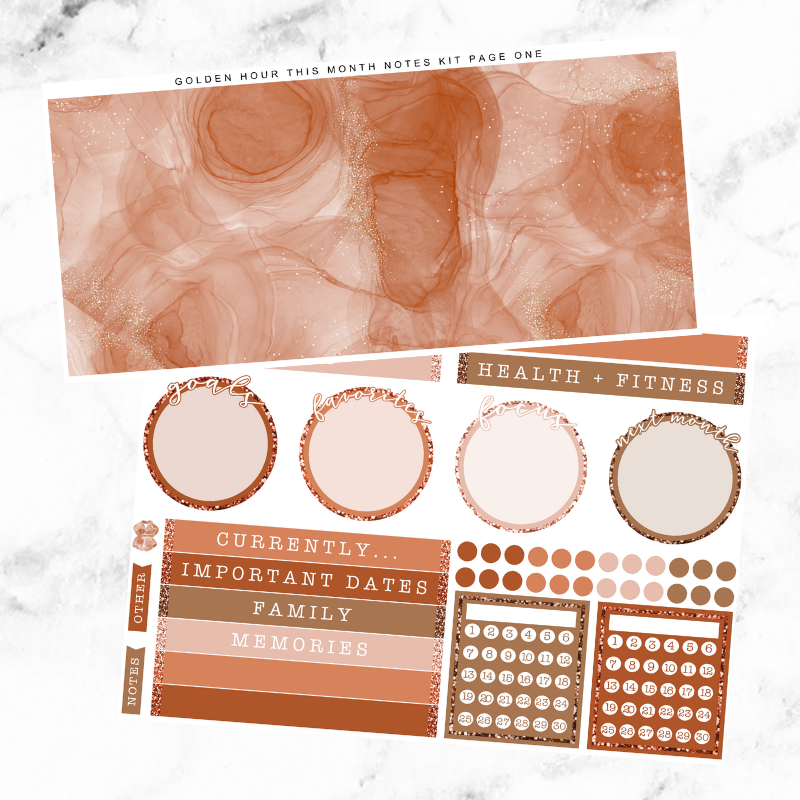 Golden Hour Monthly Notes Page Kit For The Vertical ECLP