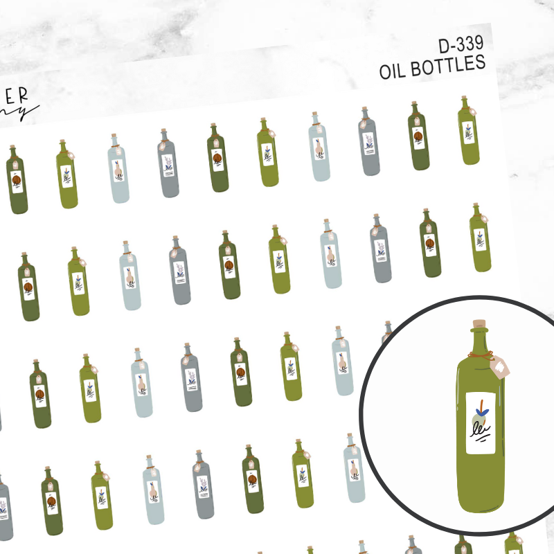 Oil Bottles Deco Sticker Sheet