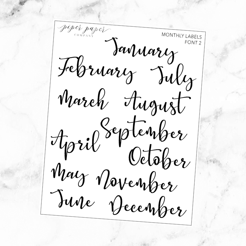 Monthly Kit Label Font 2 Sticker Sheet