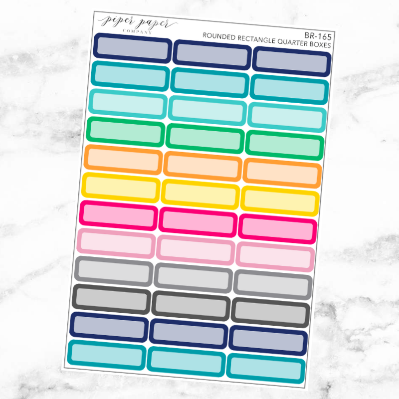 Bright Rounded Rectangle Quarter Box Sticker Set