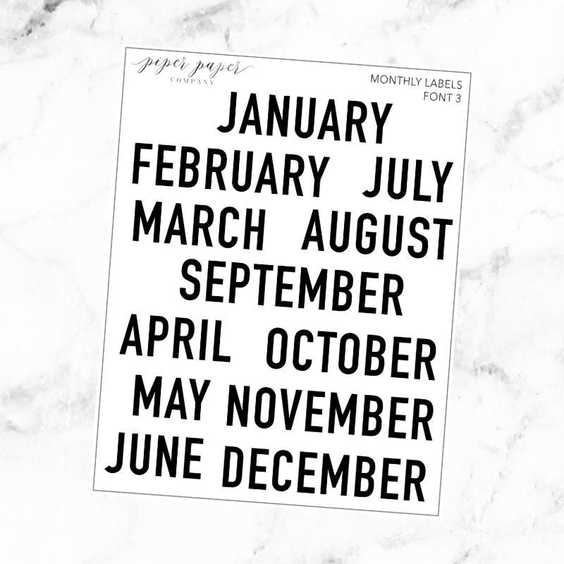 Monthly Kit Label Font 3 Sticker Sheet