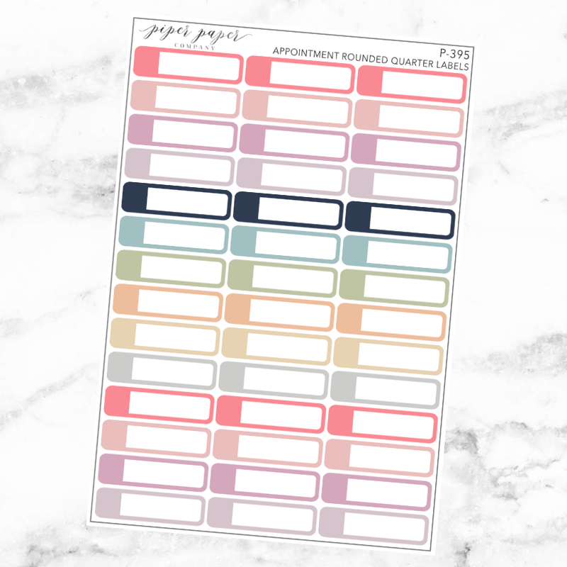 Pastel Appointment Rounded Quarter Label Sticker Sheet