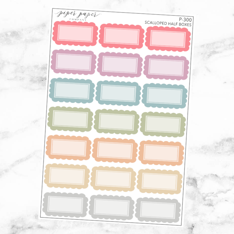 Pastel Scalloped Half Box Sticker Sheet