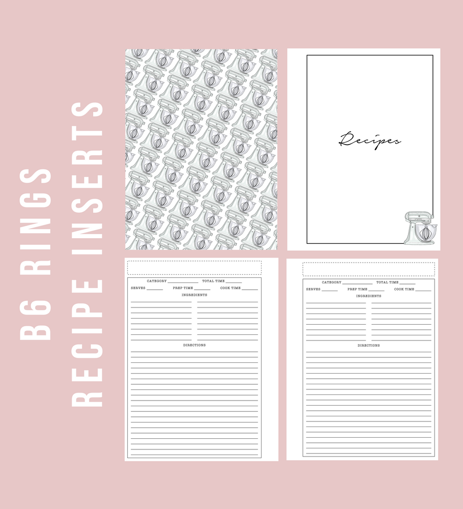 B6 Rings Recipe Printable Planner Inserts