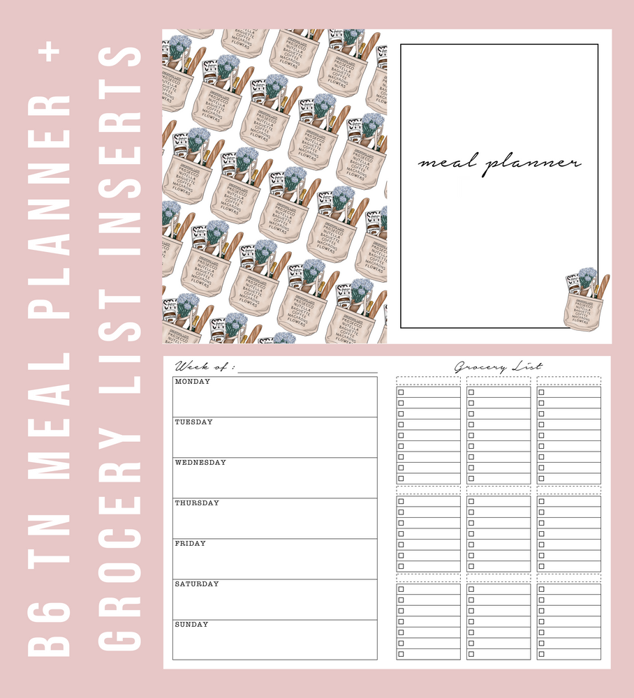 B6 TN Blank Meal Planner & Grocery List Printable Planner Inserts