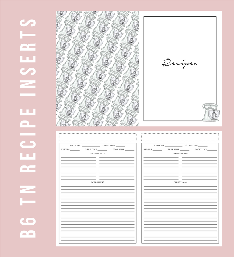 B6 TN Recipe Printable Planner Inserts