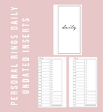 Personal Rings Daily Undated Printable Planner Inserts