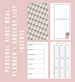 Personal Rings Labeled Meal Planner & Grocery List Printable Planner Inserts