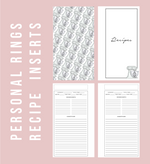 Personal Rings Recipe Printable Planner Inserts