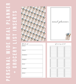 Personal Wide Rings Blank Meal Planner & Grocery List Printable Planner Inserts