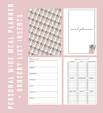 Personal Wide Rings Labeled Meal Planner & Grocery List Printable Planner Inserts