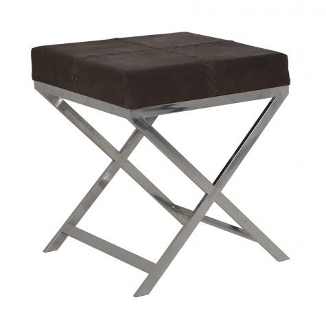 GRENA STOOL SQUARE NICKEL BROWN LEATHER
