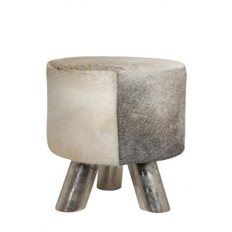 HAGAN STOOL NICKEL W/GRAY COWSKIN
