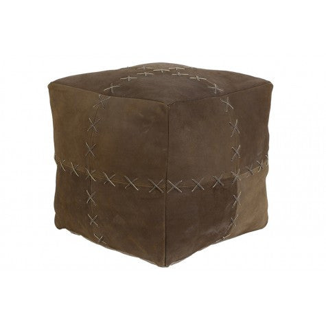 DAUD LOW STOOL BROWN LEATHER