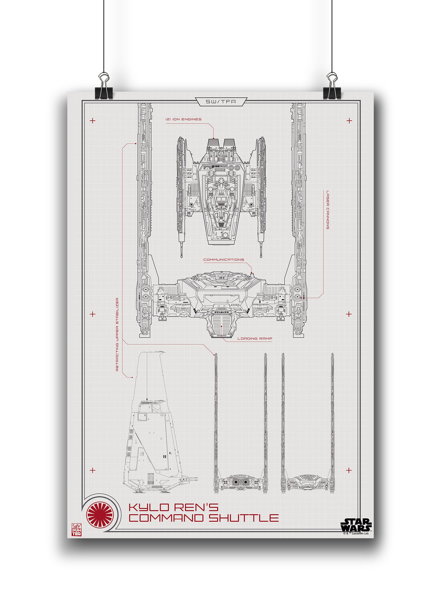 Star Wars™-Kylo Ren Shuttle Blueprint Poster in India - Silly Punter 908f5df2ef