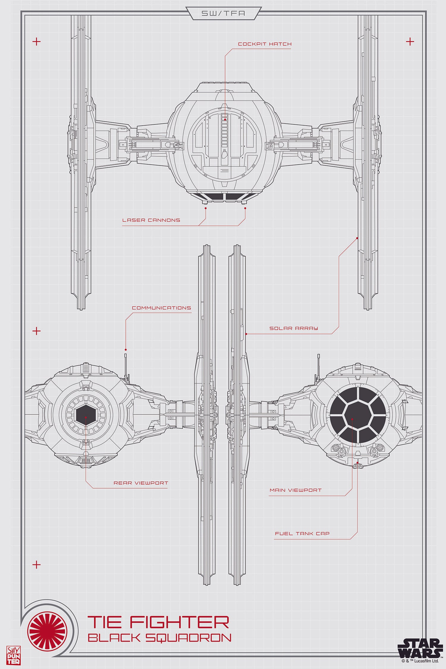 tie advanced, tie phantom, y-wing schematic, on tie fighter schematic