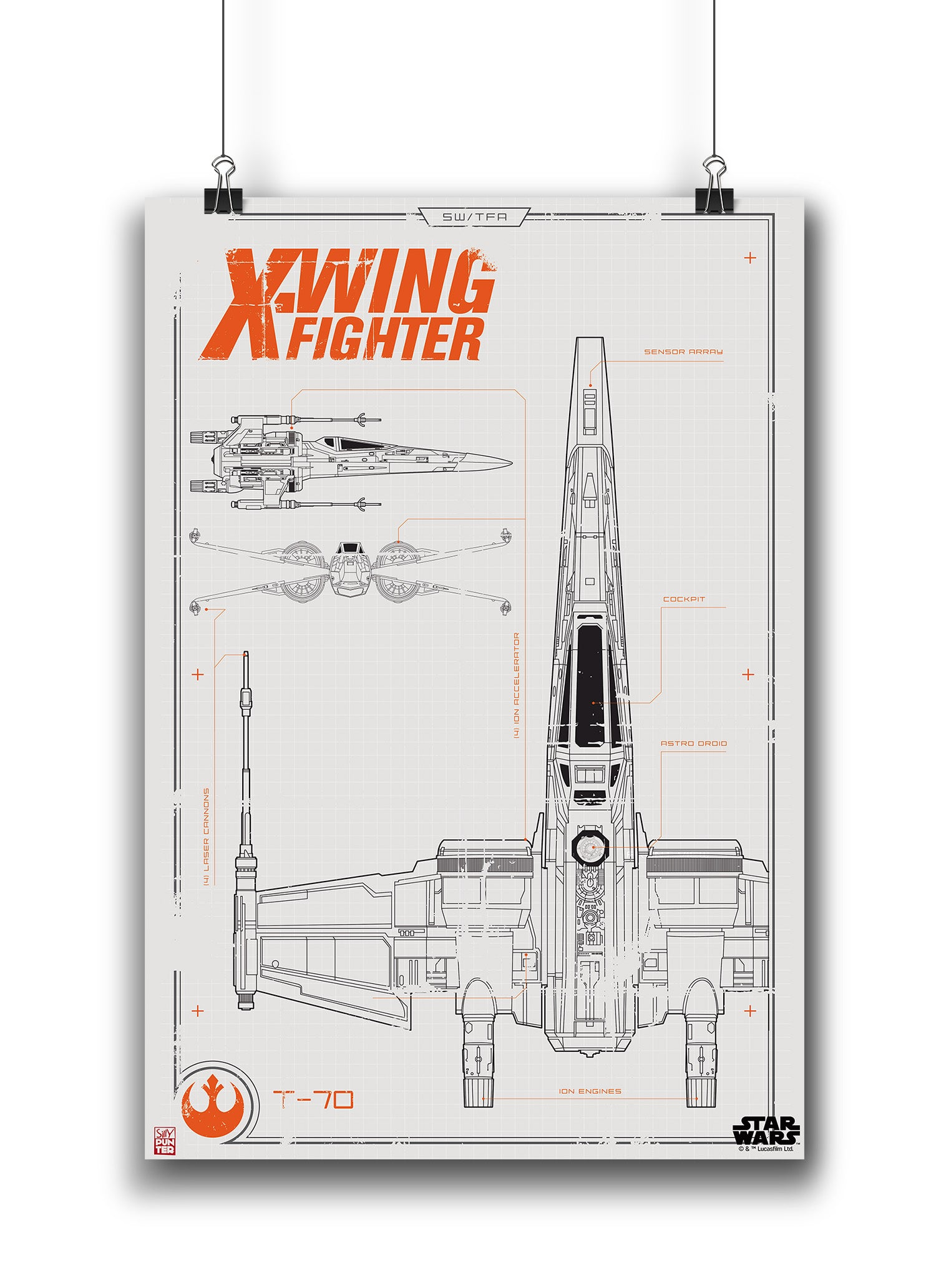 Star wars x wing fighter blueprint poster in india silly punter star wars x wing fighter blueprint poster malvernweather Images