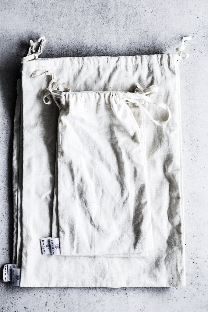 Reusable cotton bulk bags.
