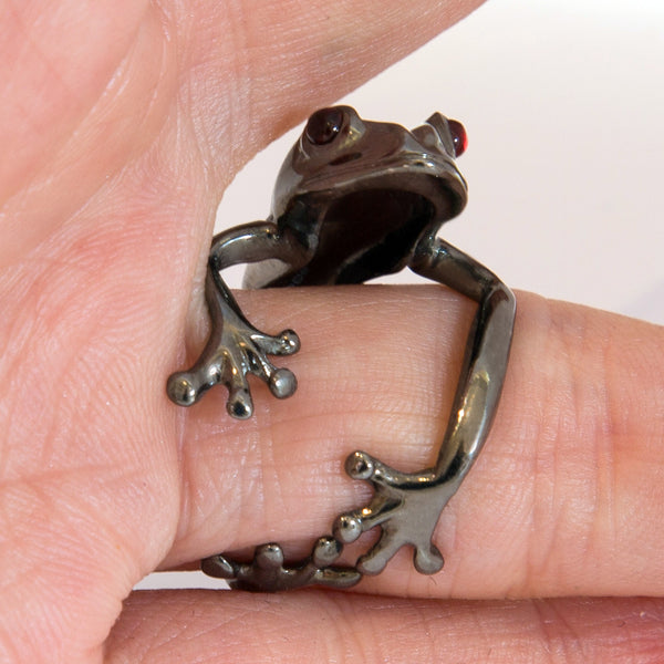 Rainforest Frog Ring - Rhodium Gold Plated (Adjustable)