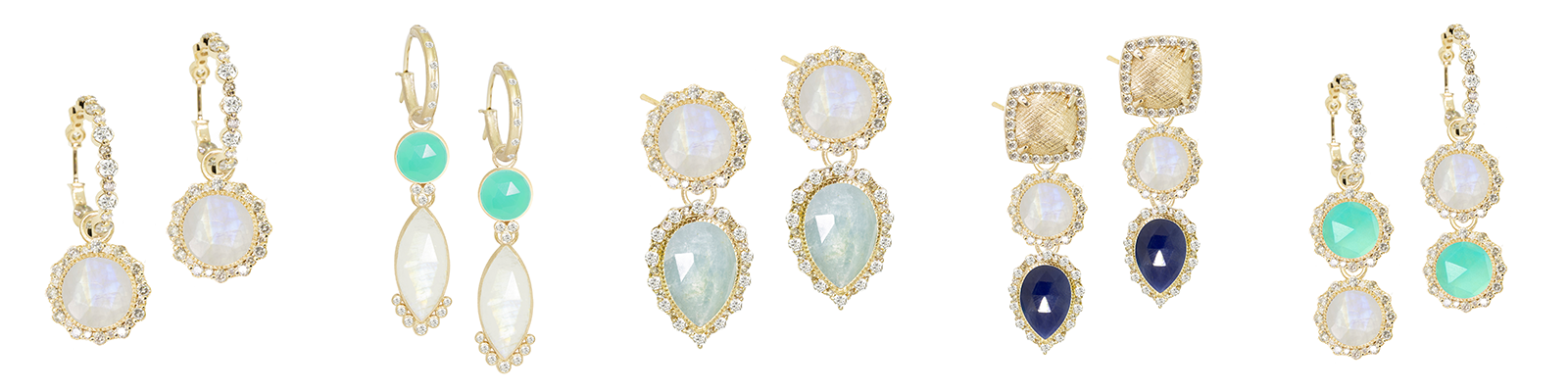 Nina Nguyen Designs Interchangeable Silver Earrings Labradorite Studs with  Marquise Moonstone Jackets