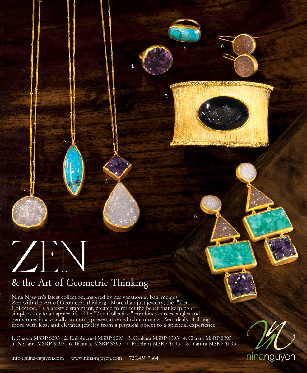 Nina Nguyen Beautiful Druzy Stone Turquoise Zen Collection Jewelry Earrings Necklace Cuff Rings