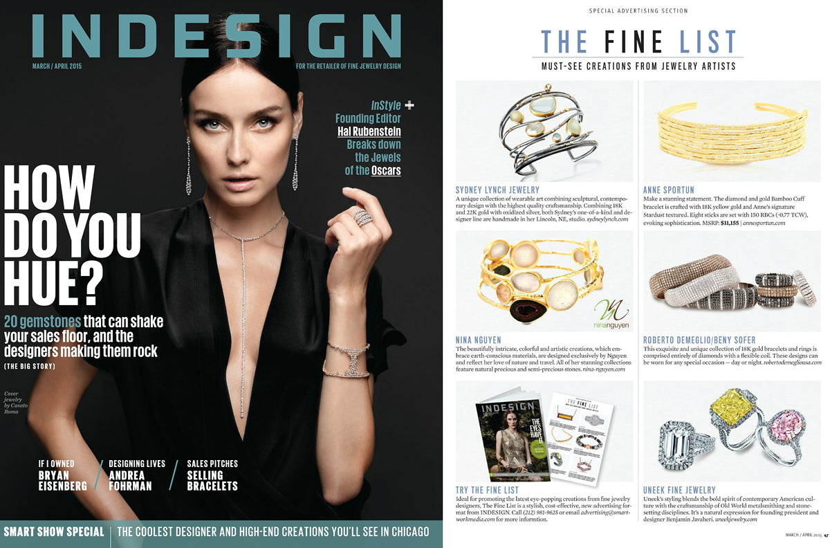 Nina Nguyen Designs Druzy Geode Gold Bangles Indesign April 2015 Jewelry Feature