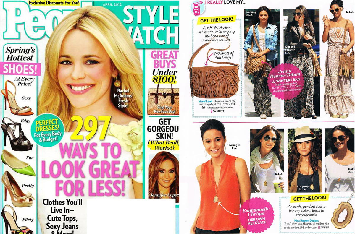 Nina Nguyen Designs Silver Geode Slice Pendant Necklace People Magazine Get The Celebrity Look Feature