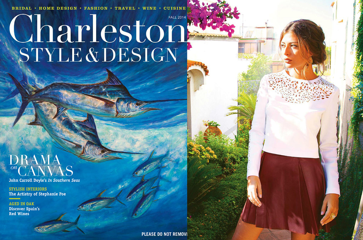 Nina Nguyen Designs Gold Druzy Earring Rings Charleston Style & Design Fall 2014 Model Feature