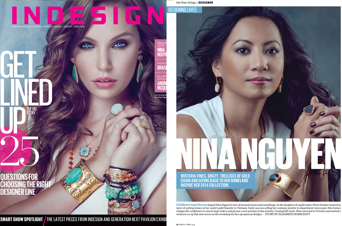 Nina Nguyen Designs Jewelry Gold Bracelete Cuff Necklace InDesign April 2014 Designer Spotlight Feature