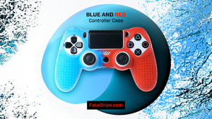 Blue/Red Studded Dots PS4 Controller Case - fatalgrips