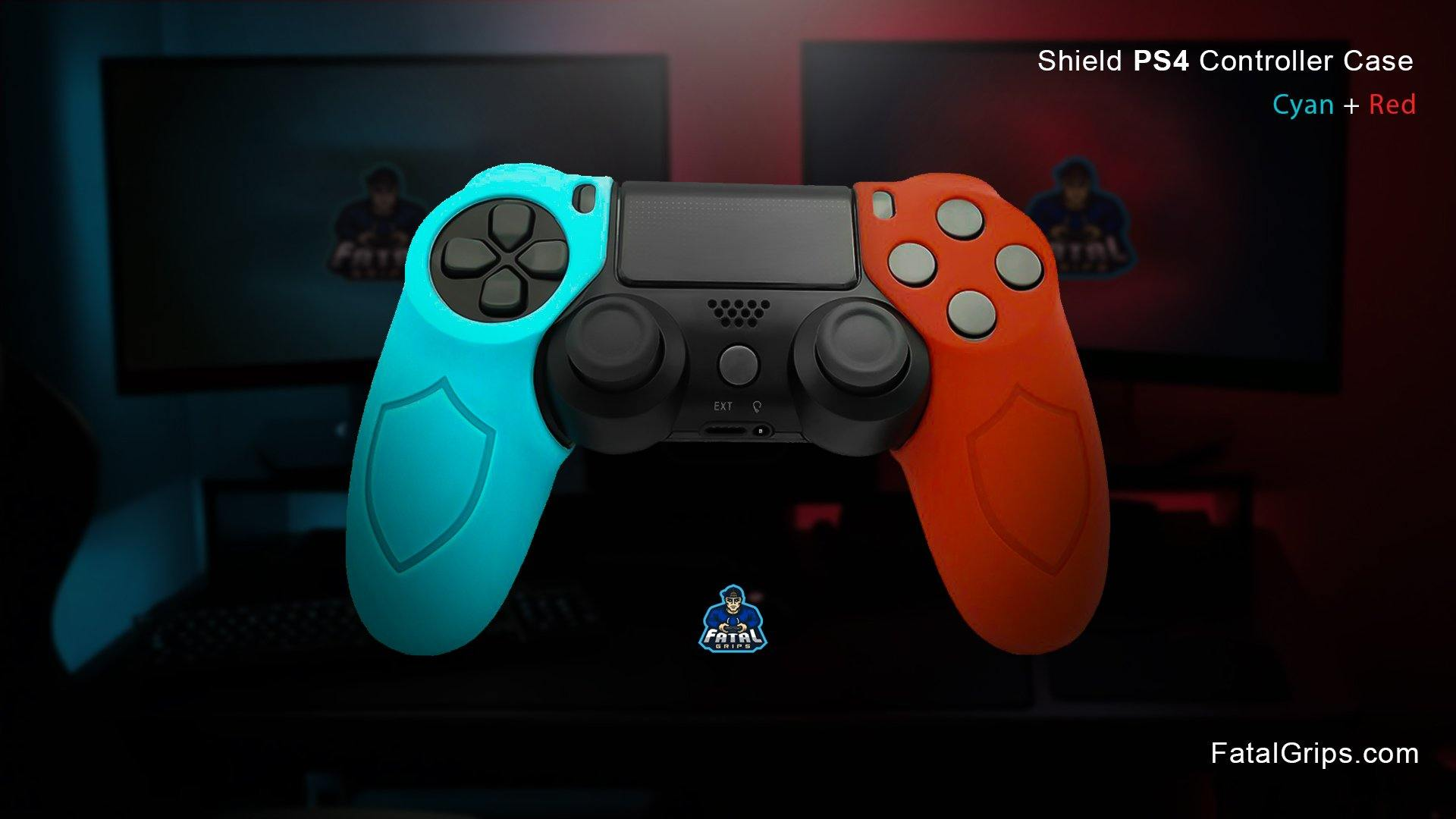 Cyan/Red PS4 Shield Controller Case - Fatal Grips