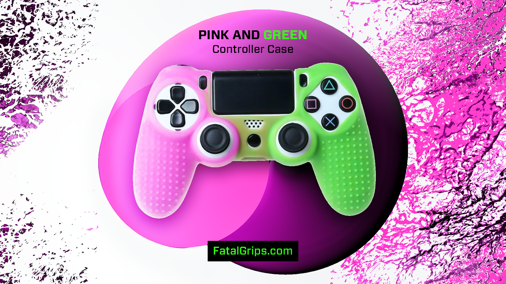 Pink/Green Studded Dots PS4 Controller Case - Fatal Grips