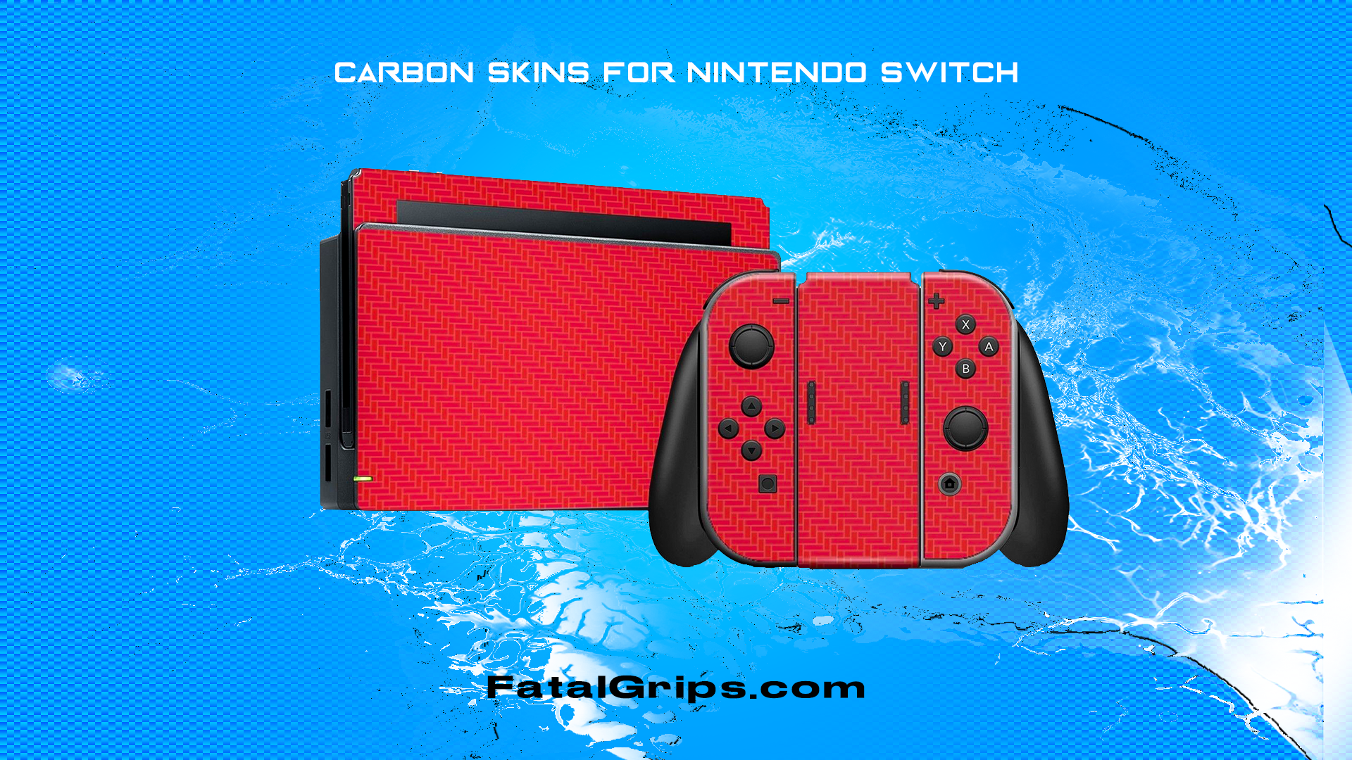 Nintendo SWITCH 3D Textured CARBON Fibre Skin - RED