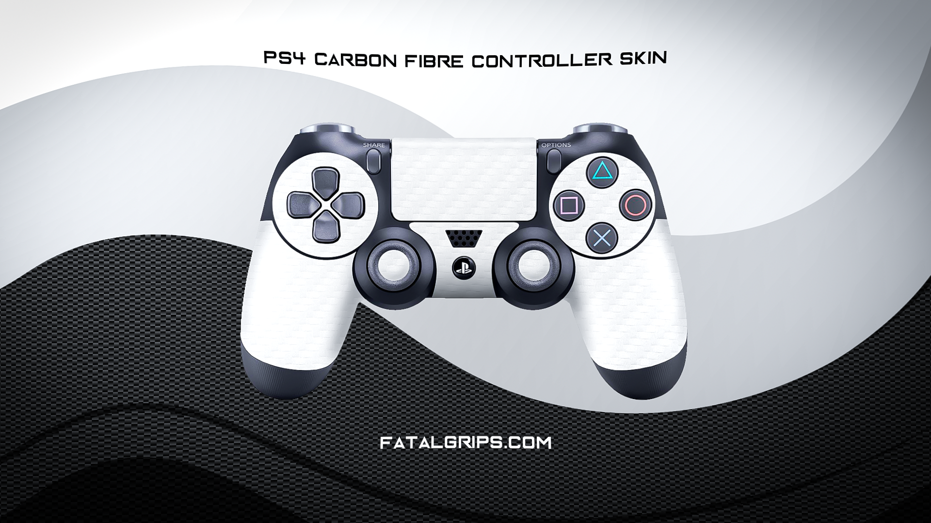 WHITE CARBON FIBER WRAPS/SKINS FOR PS4 CONTROLLER - Fatal Grips