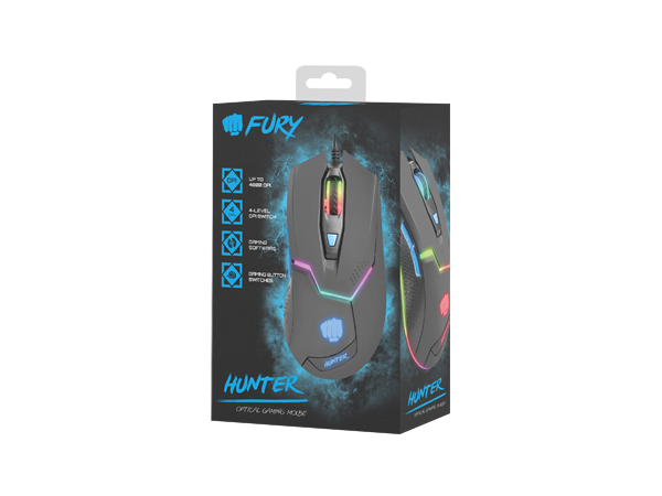 Fury Gaming Mouse Hunter 4800DPI Optical With Software - Fatal Grips