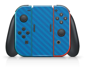 Nintendo SWITCH 3D Textured CARBON Fibre Skin - BLUE - fatalgrips