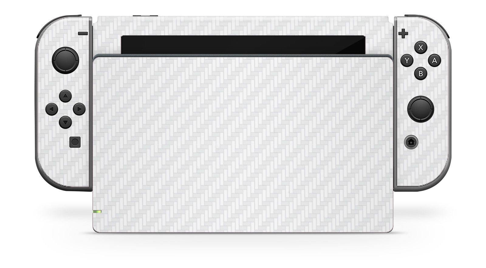 Nintendo SWITCH 3D Textured CARBON Fibre Skin - WHITE - Fatal Grips