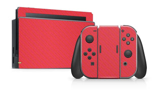 Nintendo SWITCH 3D Textured CARBON Fibre Skin - RED - fatalgrips