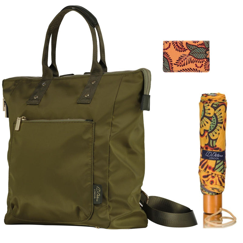Ladies backpack olive green with compact umbrella and cardholder