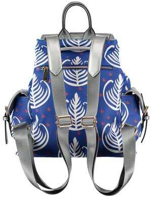 backpacks for women patterned blue and white