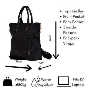 Ladies Backpack, Umbrella, Card holder Combo Set - Black Set B