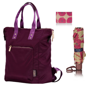 ladies backpack for work and travel plum nylon
