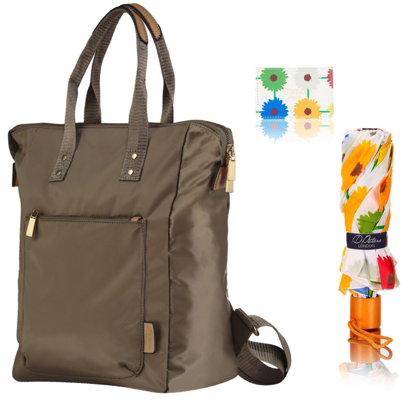 Ladies Backpack, Umbrella, Card holder Combo Set - Cream