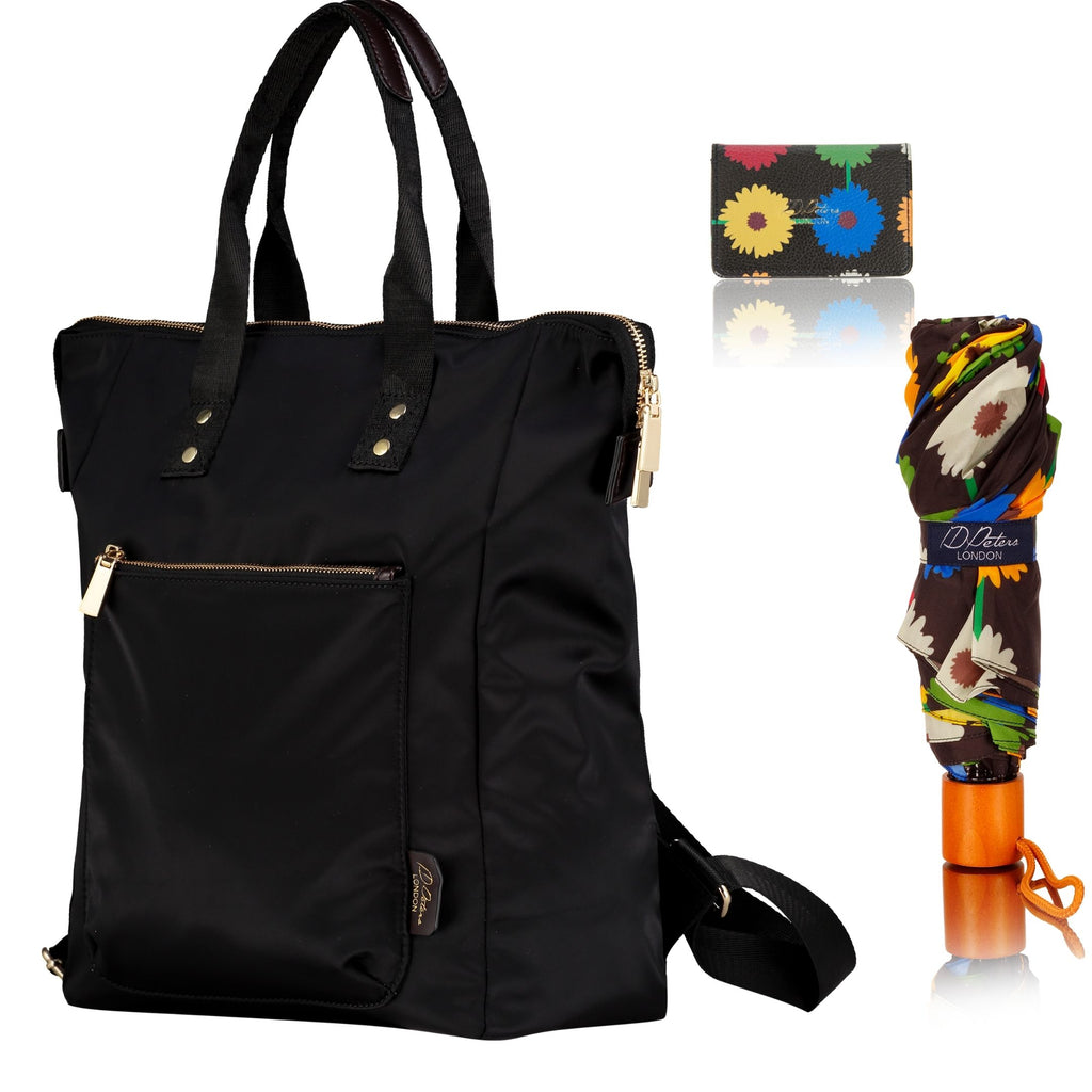 ladies backpack with windproof umbrella and cardholder