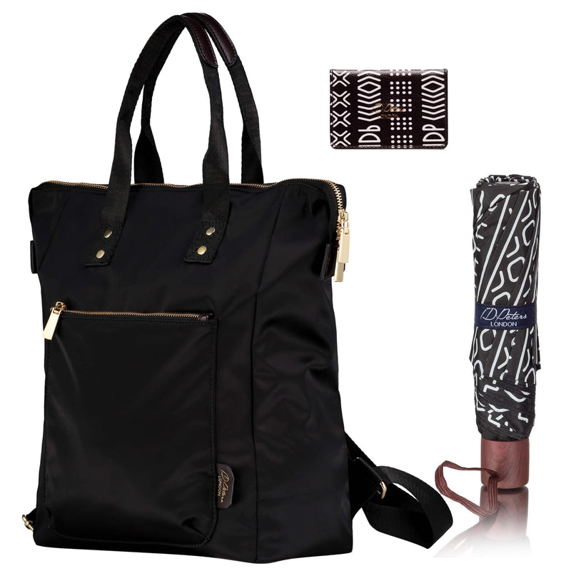 Ladies backpack with scribe compact umbrella mudcloth