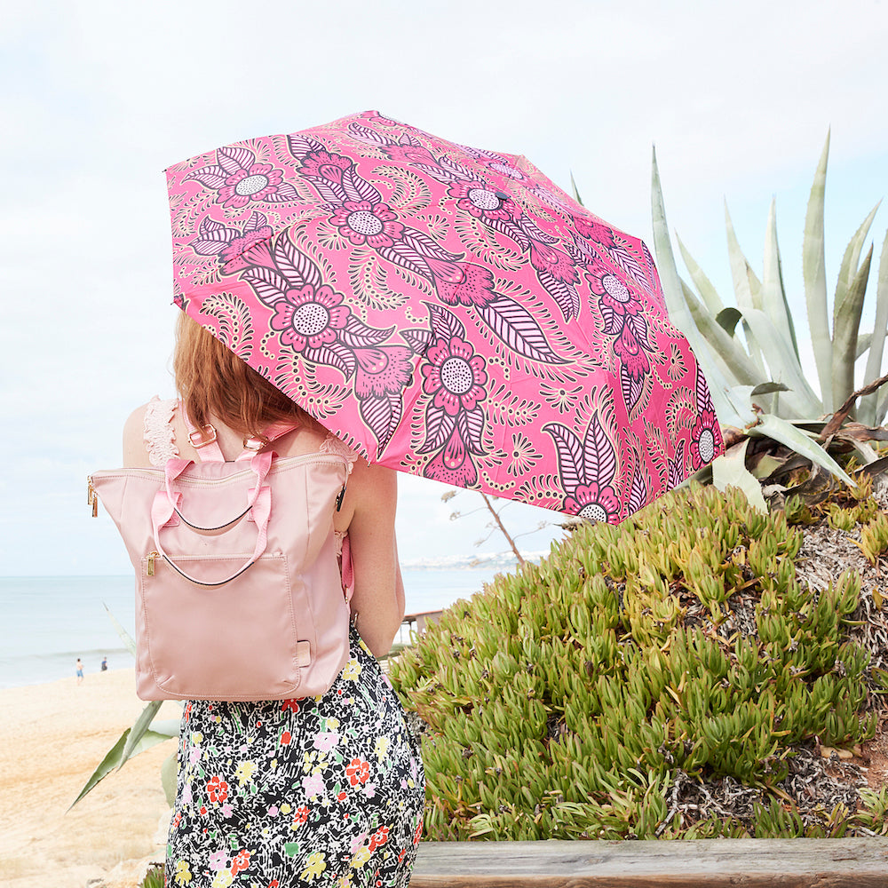 Windproof Umbrella in Pink Henna Ladies Folding Umbrella