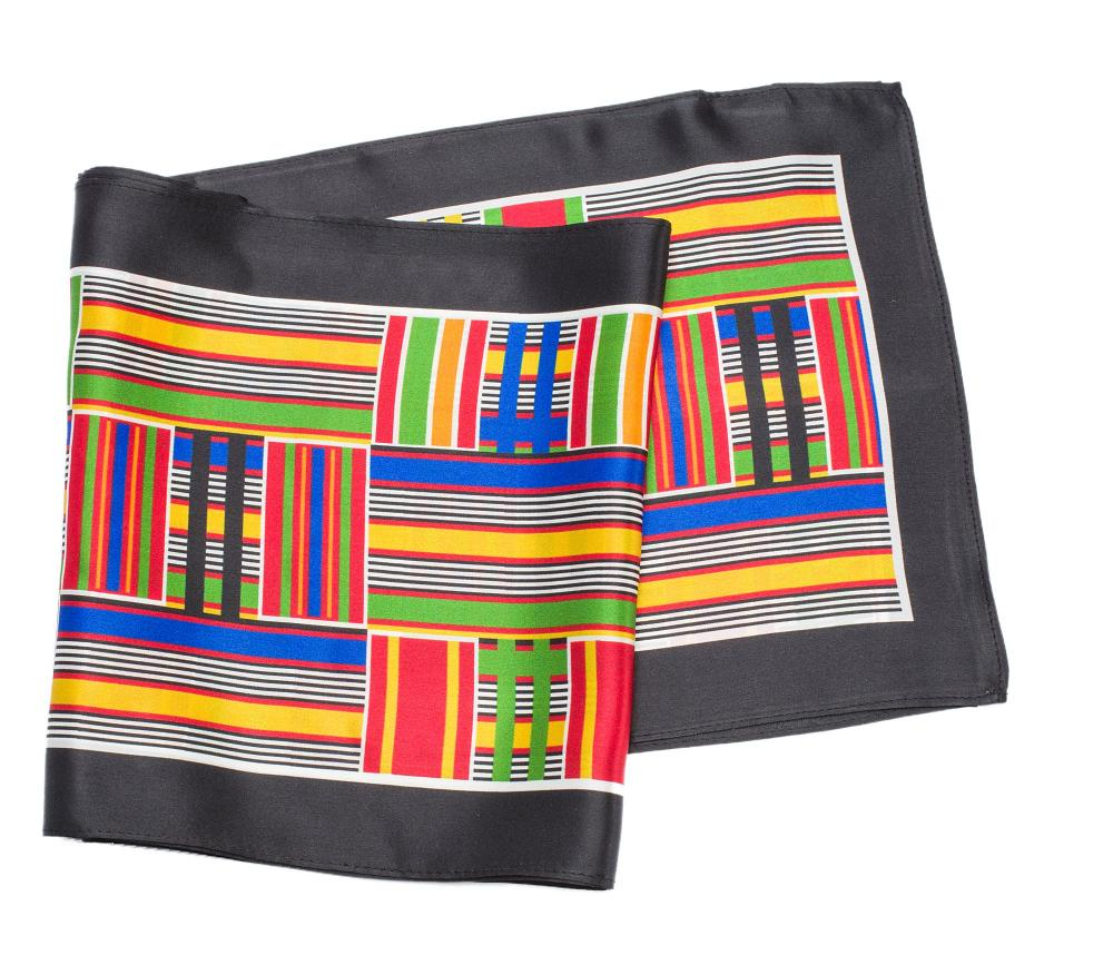 long silk scarf Black Kente design