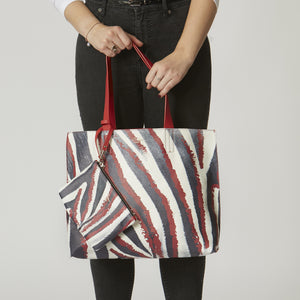 zebra and red reversible tote bag