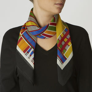 women's square silk scarf black and yellow